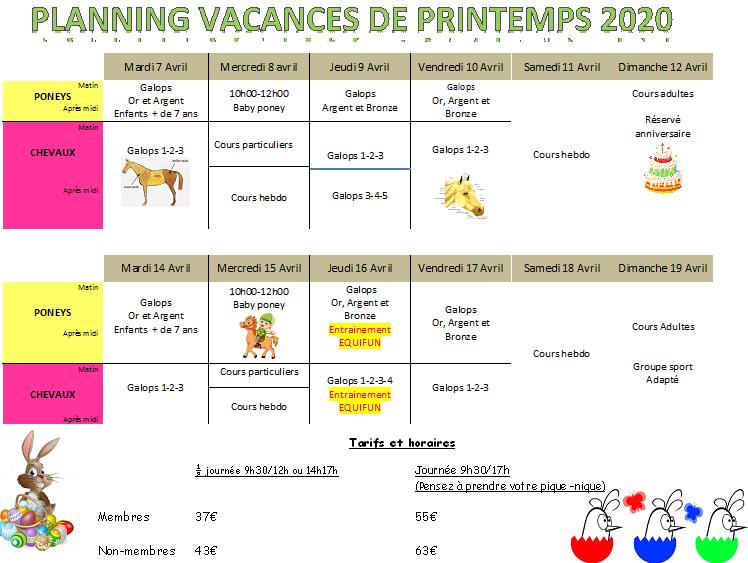 planning des vacances de printemps 2020